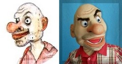 Bald Alex puppet (example of puppet from sketch).