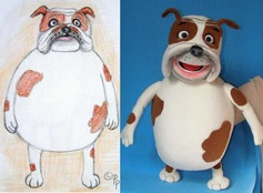 Bulldog Rex puppet (example of puppet from sketch).