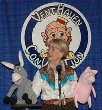 Performer Barbara Baxter with DONKEY puppet.